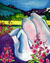painting of a nude woman sleeping in a field of fireweed near the mendenhall glacier in juneau alaska