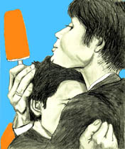 Drawing of Cillian Murphy and Tricia Vessey with Orange popcicles  from On the Edge - Elise Tomlinson
