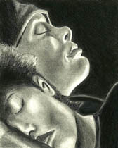 Drawing of Cillian Murphy sleeping next to the character Selena in the movie 28 Days Later