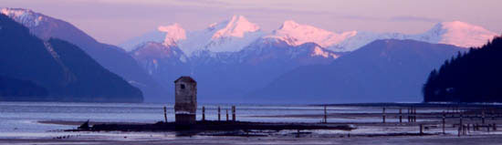 Douglas Island treadwell water pump house at sunset