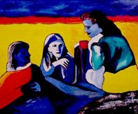 Desert Tea Party - Painting of three women having tea in the desert - Elise Tomlinson