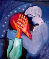 Nighttime is the Hardest - painting of man comforting a sad woman -Elise Tomlinson